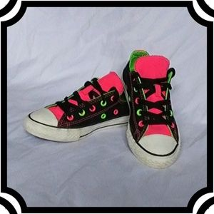 Converse Black Double Tongue w/ Neon Pink & Green